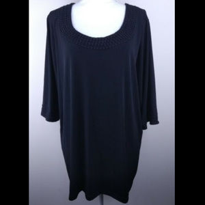MAGGIE BARNES Blouse Black Top Size 1X 18/20W